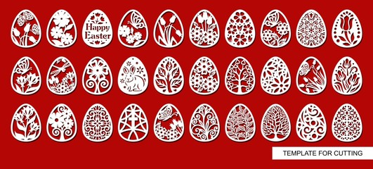 Big set of decorative elements - Easter Eggs with floral ornament. White objects on red background. Template for laser cutting, wood carving, paper cut and printing. Vector illustration.