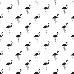 Vector seamless pattern with black flamingos silhouettes.