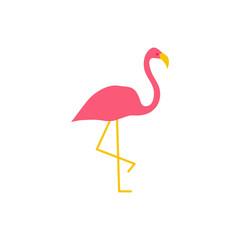 Vector pink flamingo. Vector standing flamingo. Vector illustration.