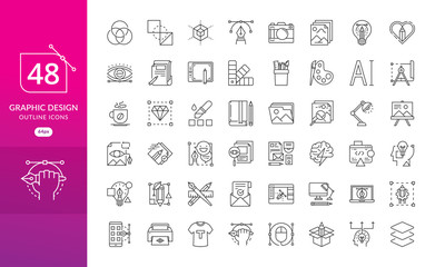 Set of thin line icons of graphic design. Simple linear icons in a modern style flat, Creative Process. Graphic design, creative package, stationary, software and more Fotobehang