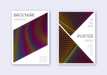 Triangle cover design template set. Rainbow abstra