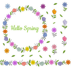 Colorful wreath made from different spring flowers and leaves. Beautiful welcoming lettering. Endless horizontal brush. Seamless horizontal border.