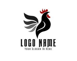 elegant drawing vector crowing rooster logo design inspiration
