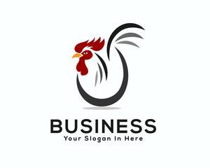 vector line art egg chicken rooster logo design inspiration
