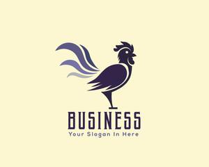 crowing rooster drawing art logo design illustration