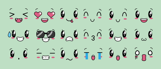 kawaii cartoon faces