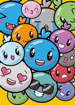 kawaii cartoon faces