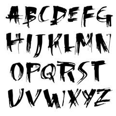 Simple alphabet letters. Handdrawn grunge ink font. Vector illustration.