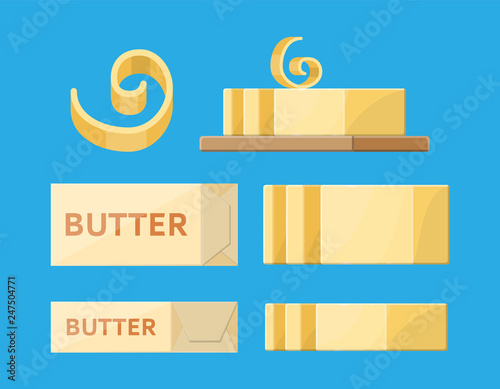 Milk butter spread in package  Creamy butter or margarine in
