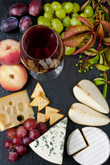 Cheese, grape and wine glass