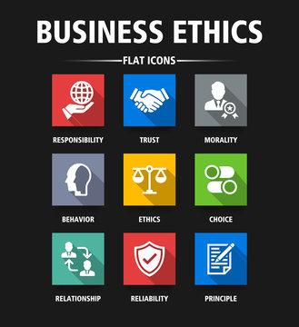 BUSINESS ETHICS FLAT ICONS
