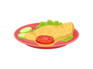 Omelette with lettuce leaf, slice of tomato and cucumber on pink plate. Food for breakfast. Flat vector design