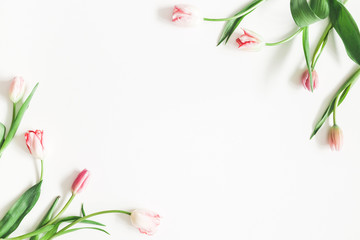 Keuken foto achterwand Tulp Flowers composition. Pink tulip flowers on white background. Valentines day, mothers day, womens day, spring, easter concept. Flat lay, top view, copy space