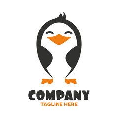 Funny baby penguin logo