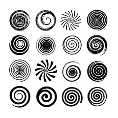 Fototapeta Set of spiral and swirl motion elements. Black isolated objects, icons. Different brush textures, vector illustrations. obraz
