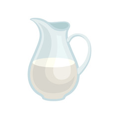 Glass jar of fresh milk. Organic dairy product. Tasty drink for breakfast. Flat vector illustration