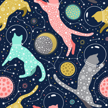 Cosmic seamless pattern with cats astronauts in helmets floating in space