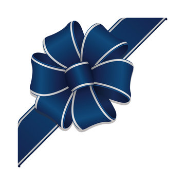 Flower loop hair bow illustration ( corner ribbon) / blue & silver