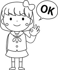 A cute bob cut female student in a sailor suit expressing emotion outline