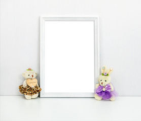 A4 A3 white wooden frame with toys on the table