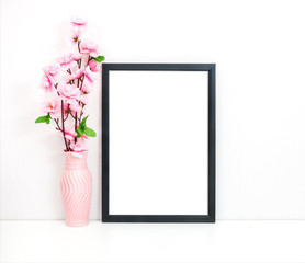 A4 A3 Styled Black Thin Frame Mock-up, Empty Frame,