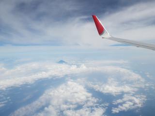 飛行機から富士山が見えた時の写真
