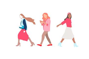 Cartoon vector flat-style illustration of women walking