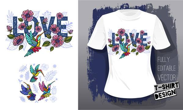 Hummingbirds cool flowers, leaves, birds, floral love embroidery textile fabrics t shirt design lettering wings insect luxury fashion embroidered style Hand drawn vector illustration