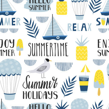 Seamless summer pattern with boat, pineapple and gull. Summertime lettering. Design for camp and adventure.