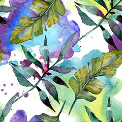 Green leaf. Exotic tropical hawaiian summer. Watercolor background illustration set. Seamless background pattern.