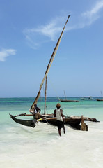 Printed kitchen splashbacks Zanzibar Wooden hand made fisherman catamaran boat, kenya, africa