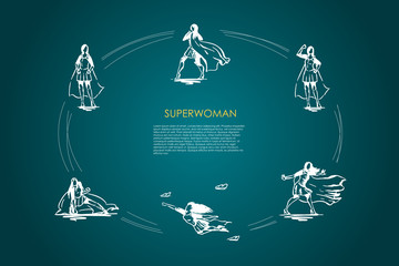 Superwoman - woman in superman costume and on high heels flying, struggling and showing her power vector concept set