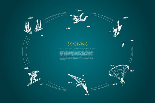 Skydiving - people in air jumping with parachute and skydiving vector concept set