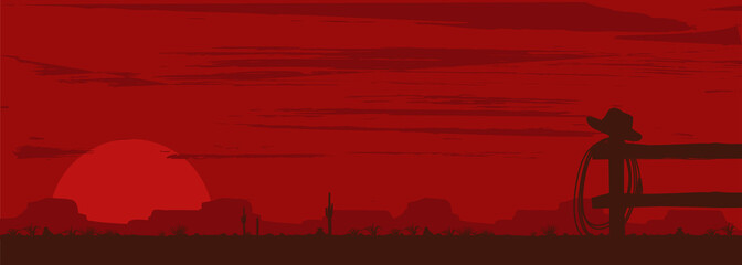 Obraz Wild west landscape background, Vector Illustration - fototapety do salonu