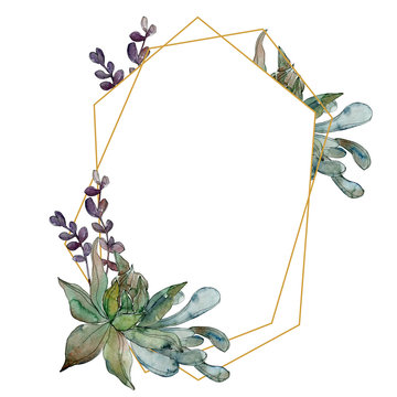 Jungle botanical succulent. Watercolor background illustration set. Frame border ornament square.