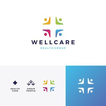people family health care group logo vector icon illustration