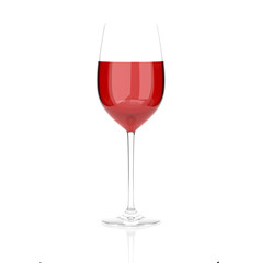 Red wine glass. 3d rendering illustration isolated on white background