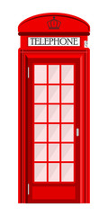 Street phone booth isolated on white background