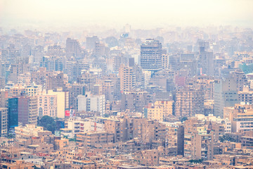 18/11/2018 Cairo, Egypt, panoramic view of the central and business part of the city from the observation deck