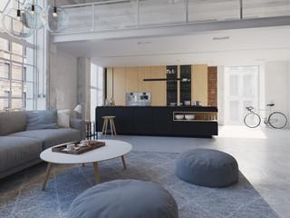 3D-Illustration of a new modern city loft apartment.