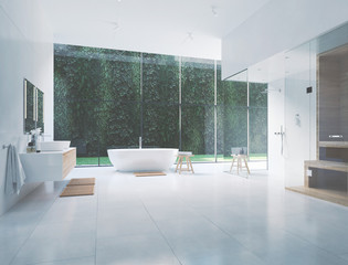 3D new modern zen bathroom with tropic plants. 3d rendering