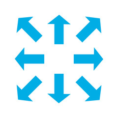 Blue thin arrows in 8/eight different directions