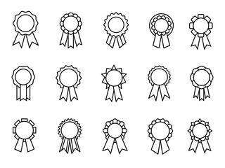 Awards ribbons line icons. Good grades ribbon linear rewards, reward seals or quality control thin badges, best certification rosettes, vector illustration