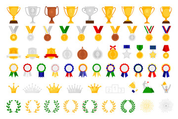 Cartoon award set. Sport and game achievement vector awards, medal and bowl, achieve trophy coat of arms and emblem, wreath and crown