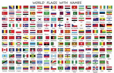 World Countries flags with names in white background -Vector