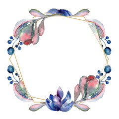 Succulent floral botanical flower. Watercolor background illustration set. Frame border ornament square.