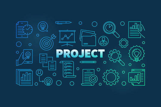 Project outline colorful banner. Vector business modern illustration in thin line style on dark background