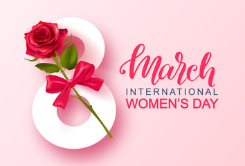 8 March Happy Women's Day banner. Beautiful Background with rose and bow. Vector illustration for website , posters,postcards,ads, coupons, promotional material.