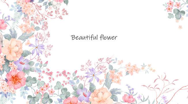 Beautiful watercolor peonies and rose flowers