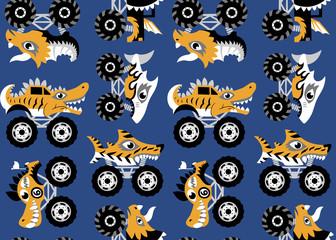 Scary animal monster trucks seamless vector pattern on dark blue background.